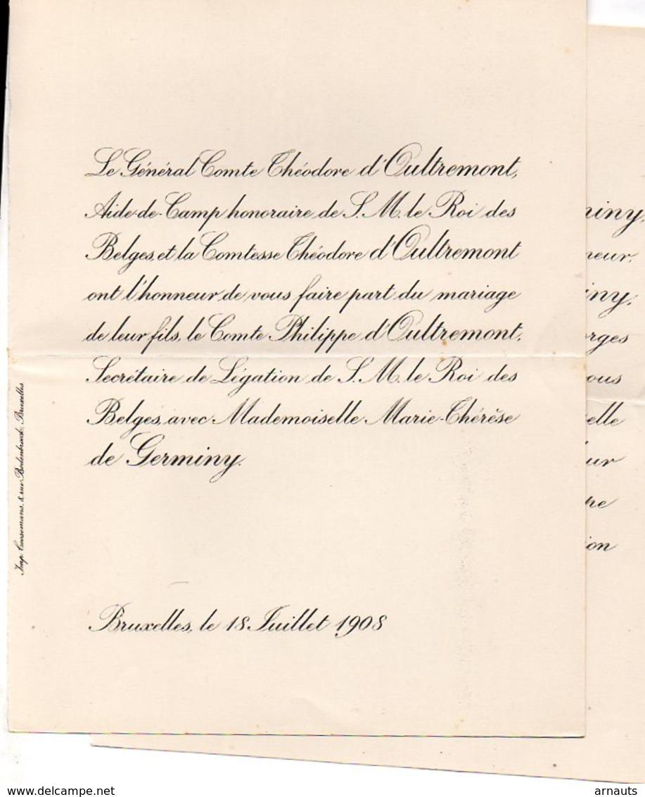 Mariage 1908 Philippe D'Oultremont & Marie-Therese De Germiny Bruxelles Paris De Bréville De Robianoi - Annunci Di Nozze