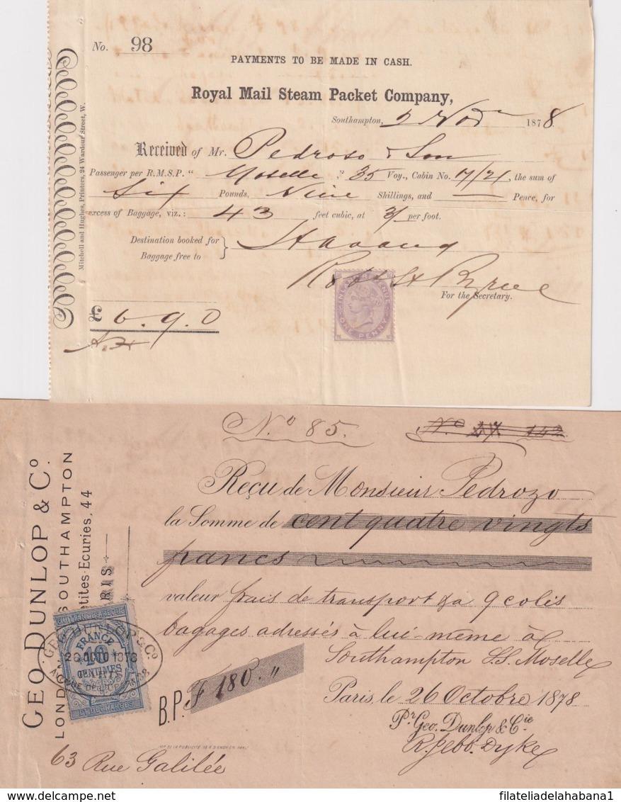 E6322 ENGLAND UK FRANCE REVENUE ILLUSTRATED BUSSINES INVOICES 1870'. - France