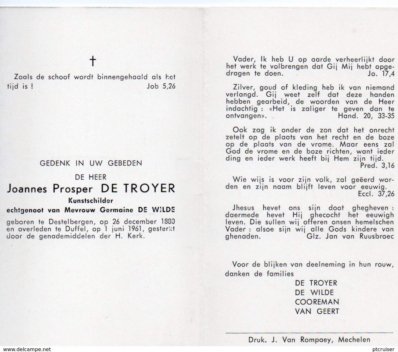 JOANNES PROSPER DE TROYER KUNSTSCHILDER DESTELBERGEN DUFFEL - Otras Colecciones