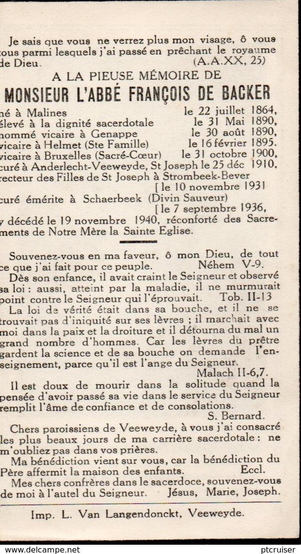 L'ABBE FRANCOIS DE BACKER MECHELEN GENAPPE HELMET BRUSSEL ANDERLECHT VEEWEYDE  STROMBEEK-BEVER SCHAERBEEK - Religión & Esoterismo