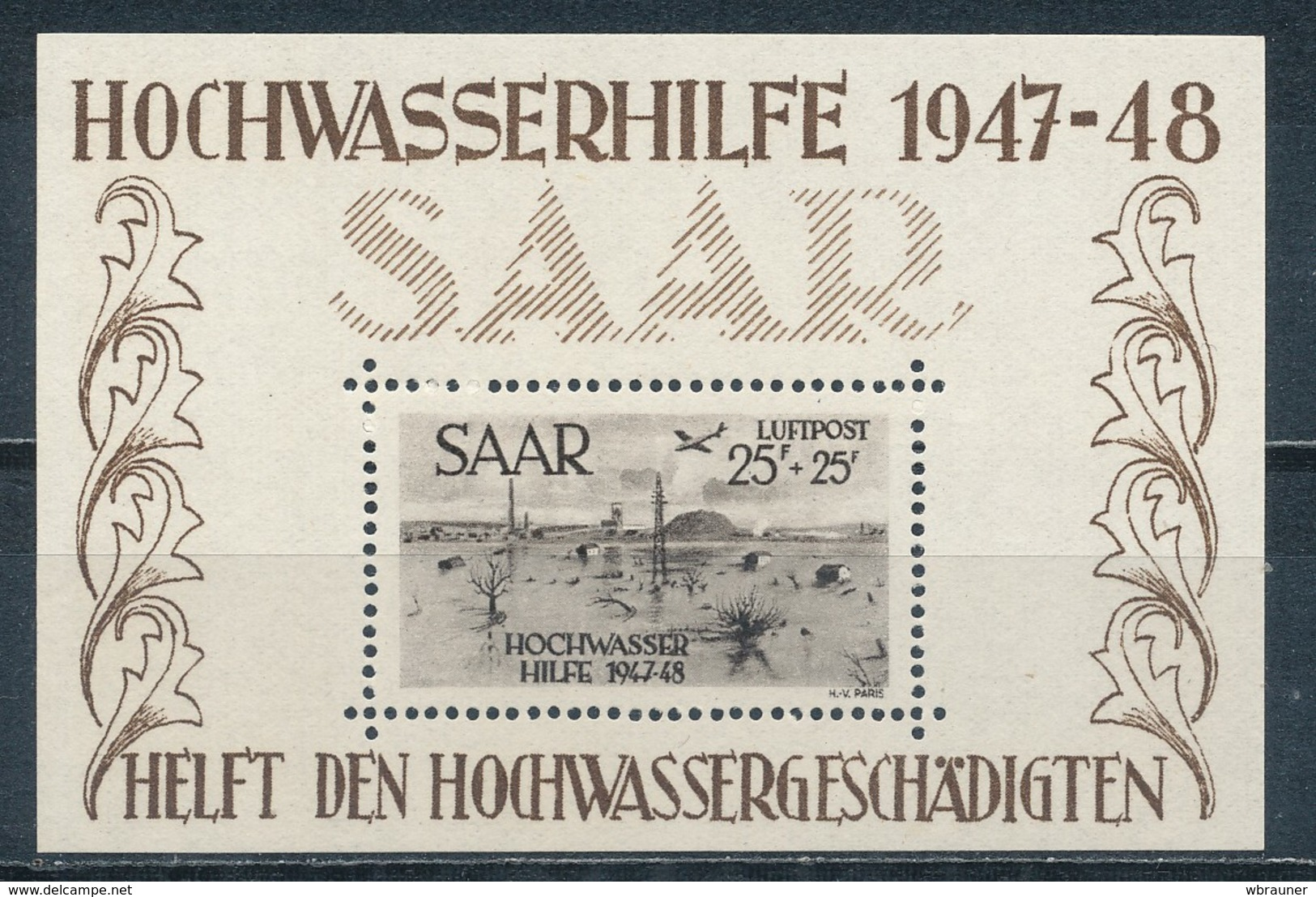 Saarland Block 2 ** Geprüft Hoffmann Mi. 600,- - Saar