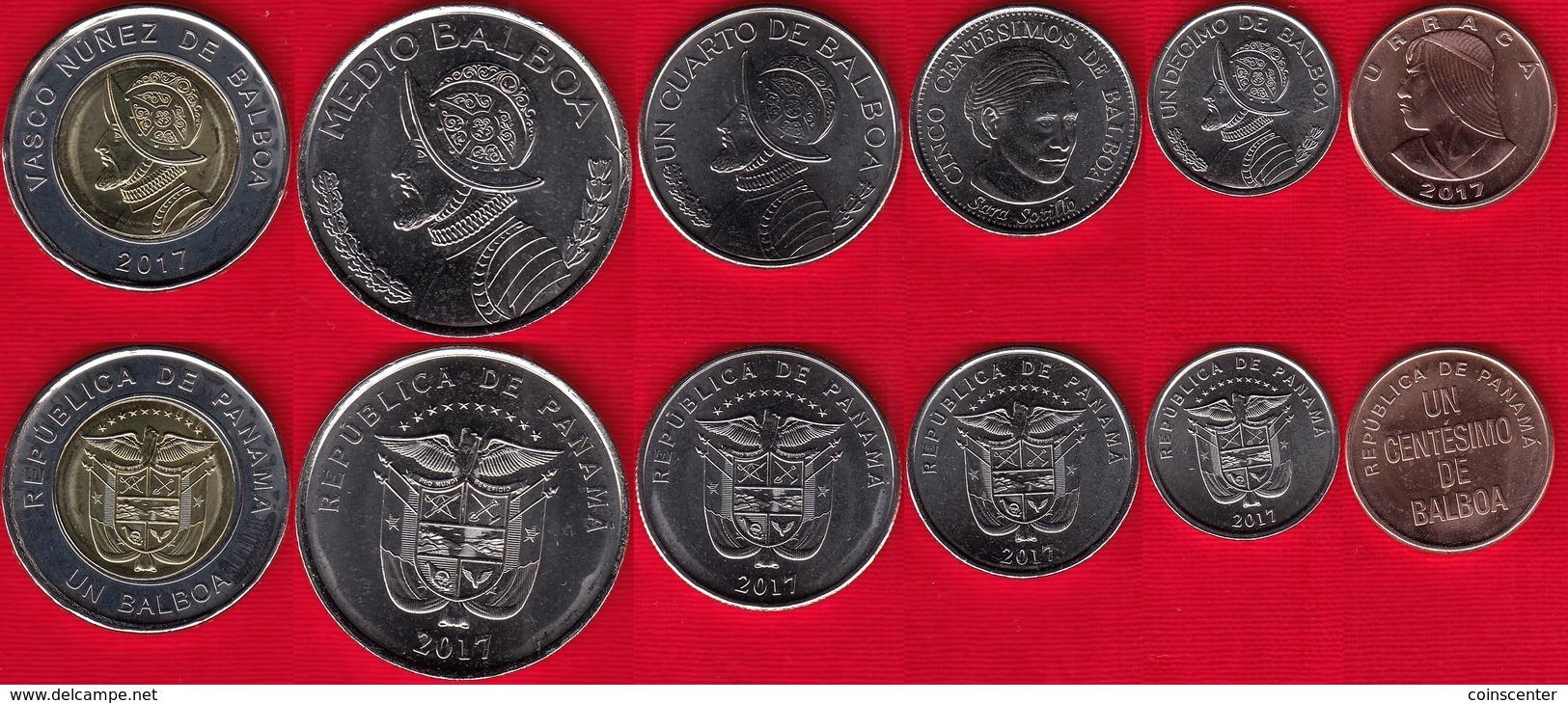 1//2 balboa 2018 UNC Panama set of 5 coins 1 centesimo