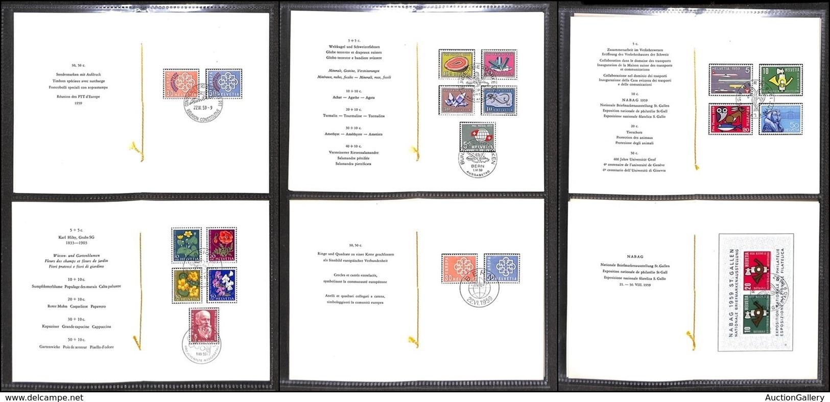 SVIZZERA - 1959 – 6 Libretti PTT Dell'anno (668/682 + 687/691) – FDC - Stamps