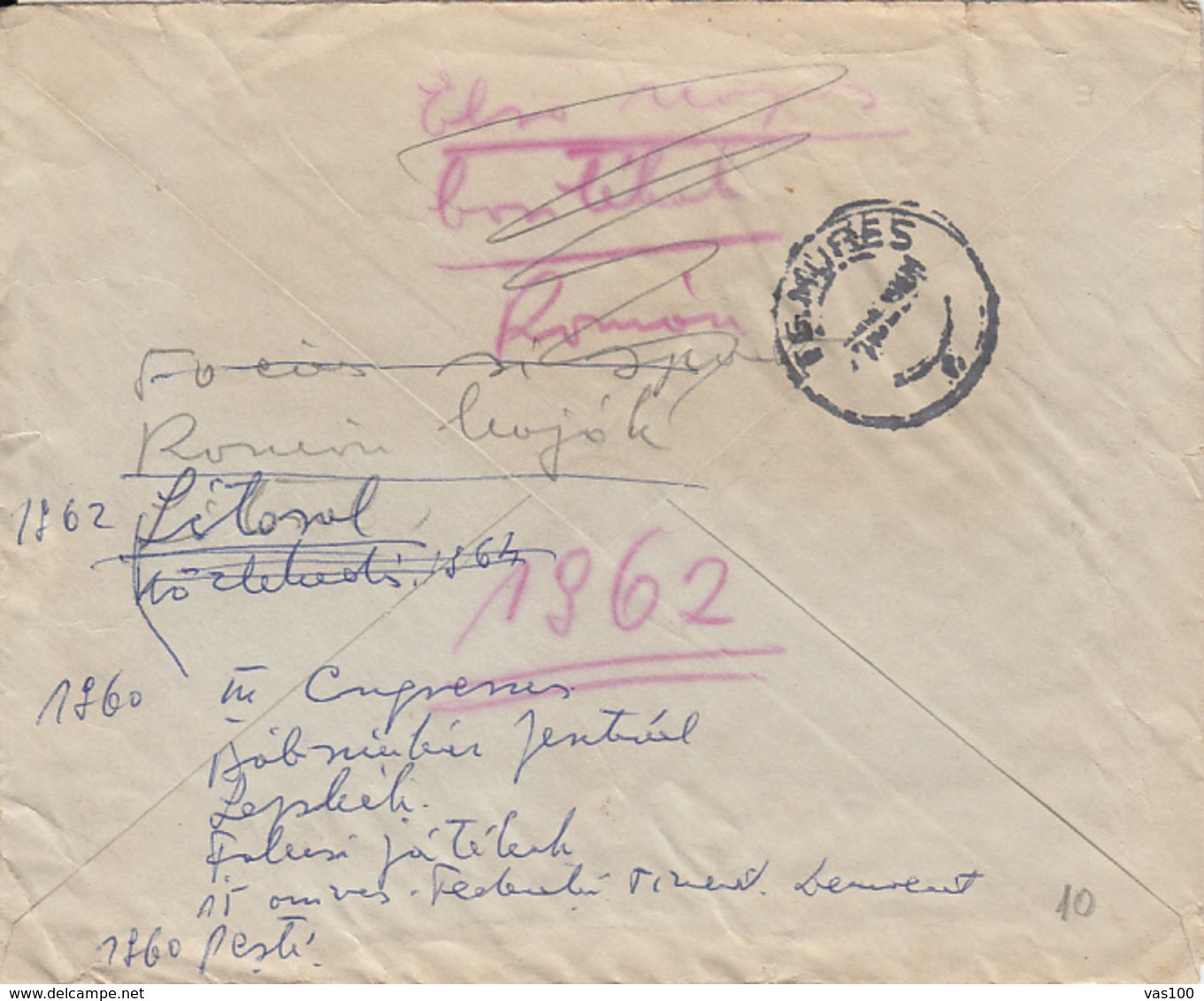 PERFINS, AVIATION STAMP, AMOUNT 6, BUCHAREST, BANK, RED MACHINE STAMPS ON COVER, 1931, ROMANIA - Perfins