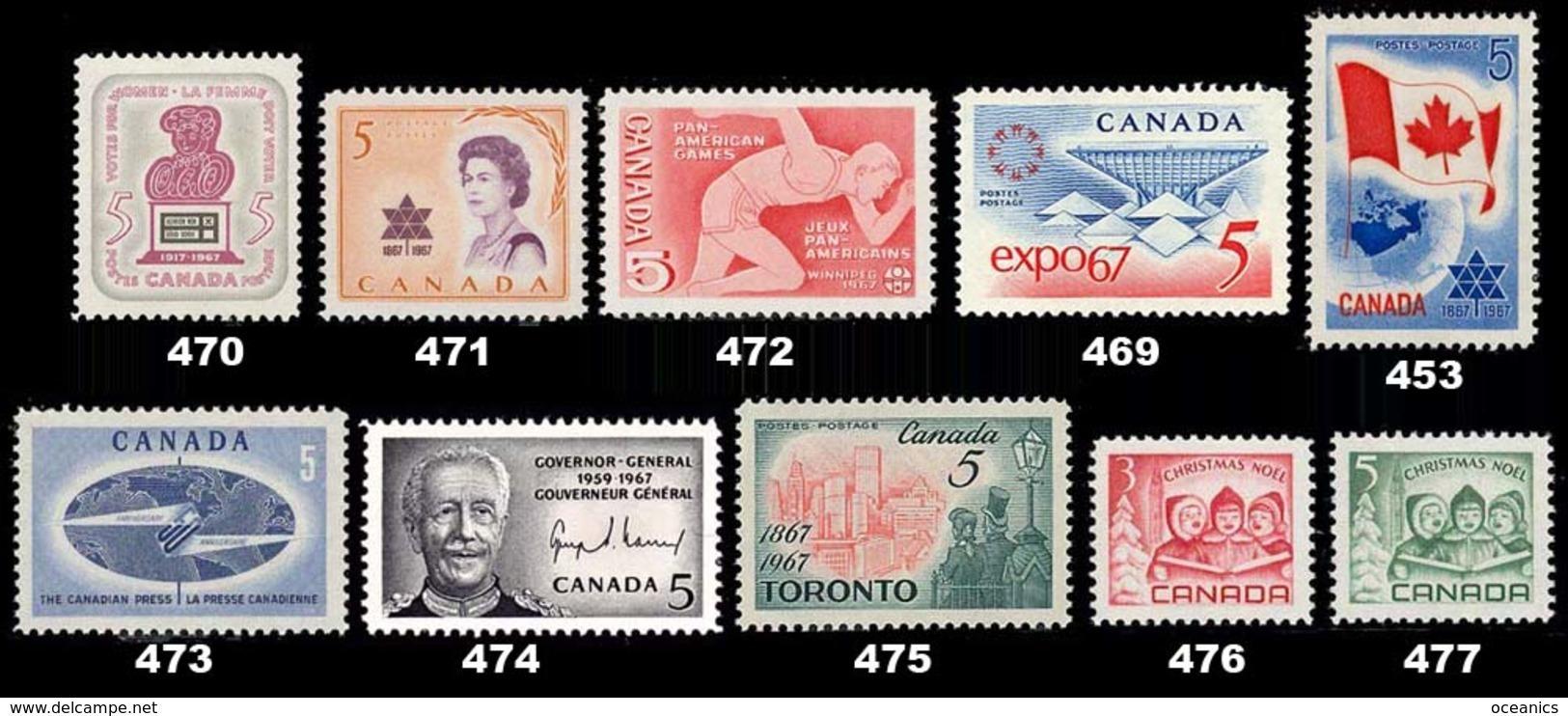 Canada (Scott No. 470-77 + 453 - 1968 Stamps) [**] - 1952-.... Règne D'Elizabeth II