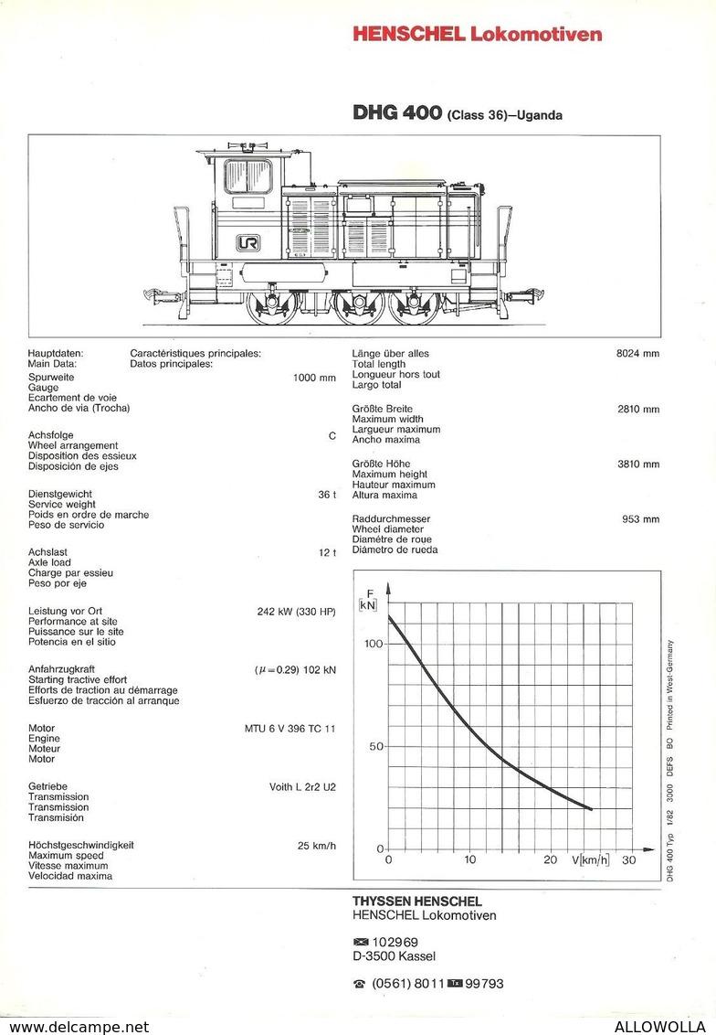"4482 ""HENSCHEL LOKOMOTIVEN DHG 400 (CLASS 36)-UGANDA"" ORIGINALE - Ferrovie"