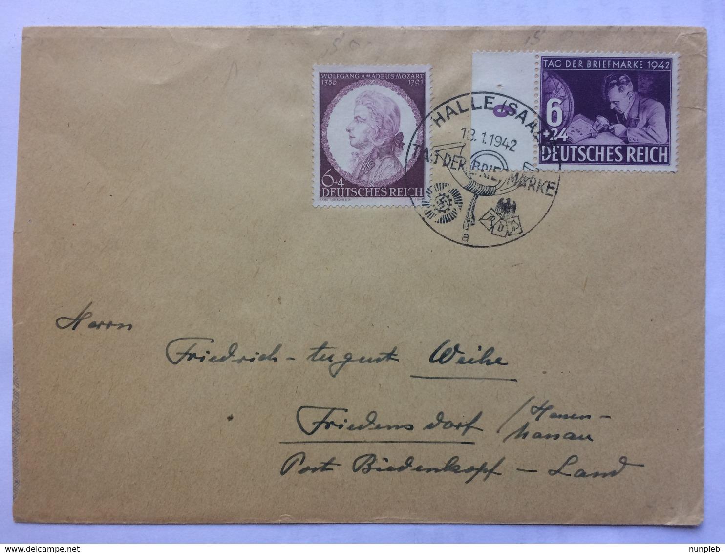GERMANY 1942 Cover Halle Sonderstempel `Tag Der Briefmarke` To Friedensdorf - Briefe U. Dokumente