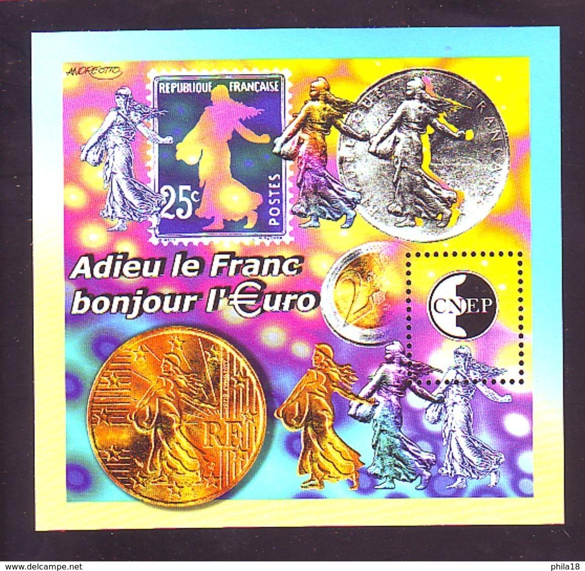 BLOC CNEP 2002 N° 35 - ADIEU LE FRANC BONJOUR L'€URO MARIANNE - CNEP