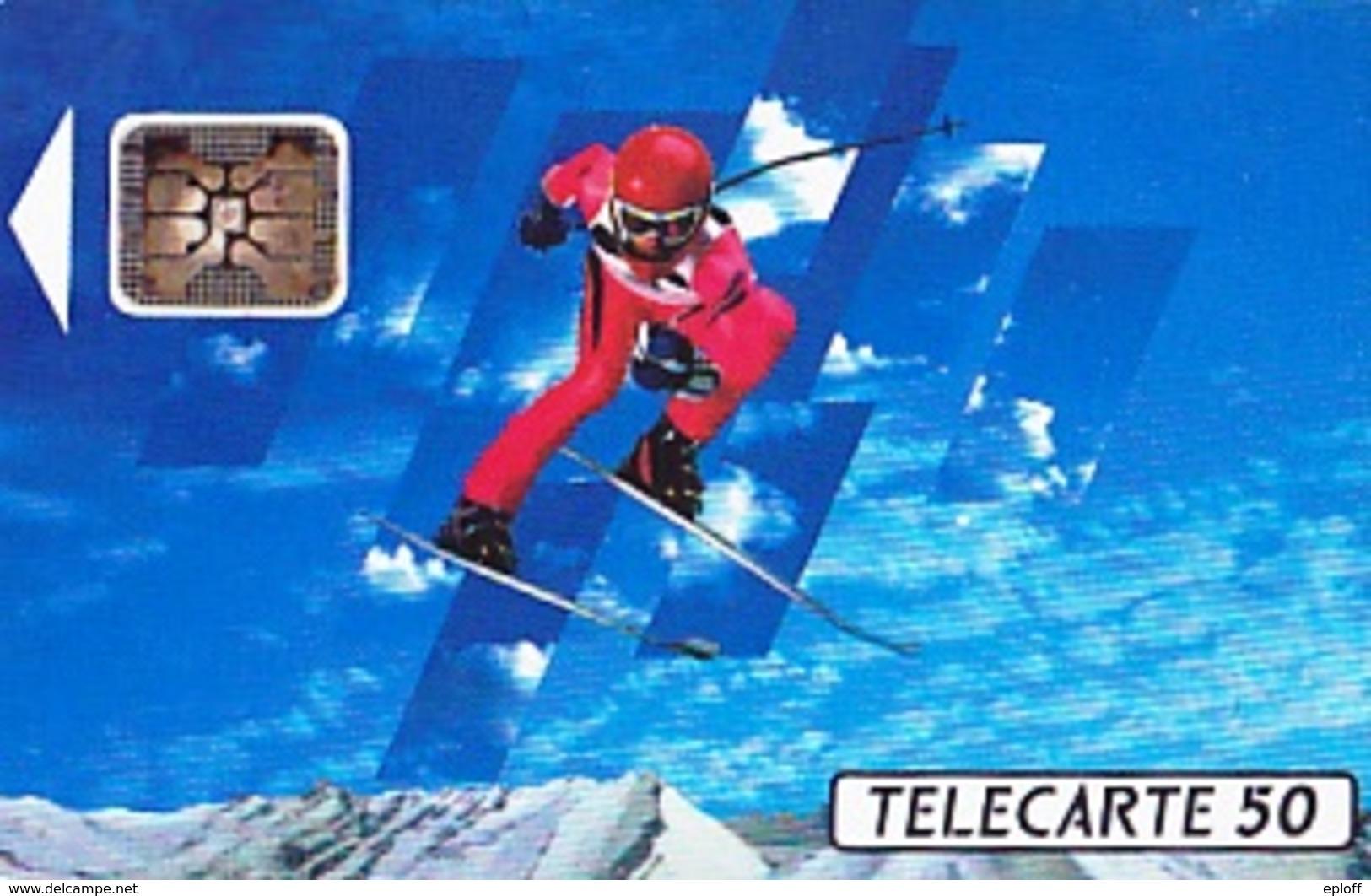 FRANCE  Télécarte   XVIème J.O. D' Hiver Ski Alpin   SC5 De 50 Unités De 04.1991 Tirage 4k Ex. - Jeux Olympiques