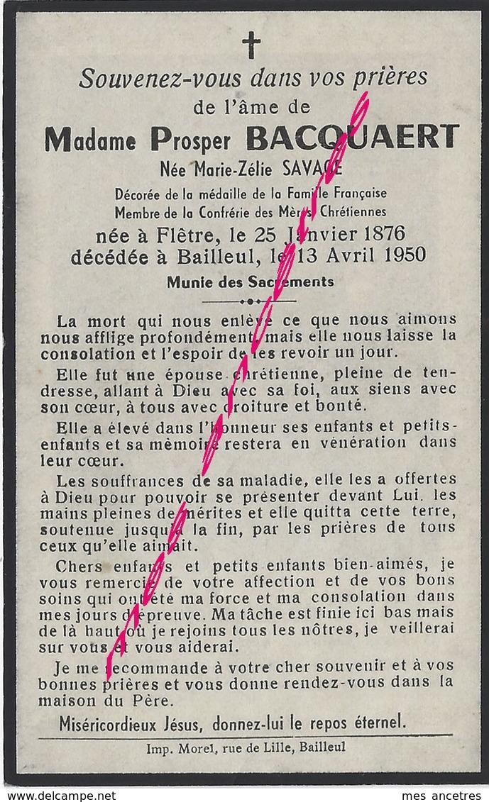 En 1950 à Bailleul (59)--mme Prosper BACQUAERT Née Zélie SAVAGE En 1876 à Flètre - Décès