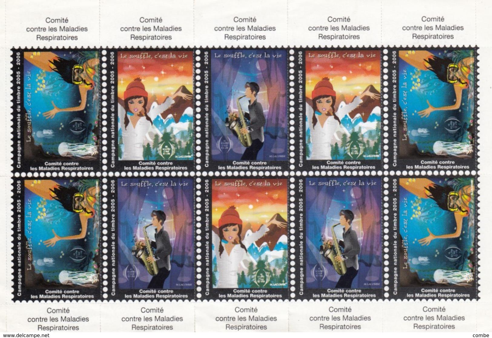 ERINNOPHILIE FEUILLET 10 VIGNETTESCOMITE CONTRE LES MALADIES RESPIRATOIRES   / 5 - Commemorative Labels