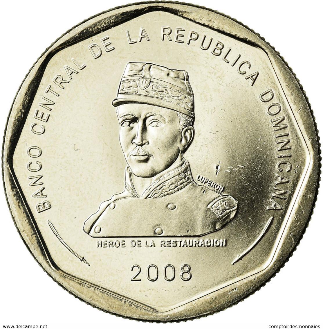 Monnaie, Dominican Republic, 25 Pesos, 2008, SPL, Copper-nickel, KM:107 - Dominicaine