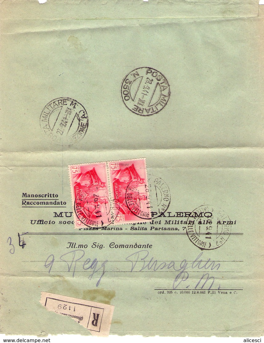 ITALIA  Storia Postale  Regno   Posta Militare 3500   Coppia Cent. 75   Racc. - Storia Postale