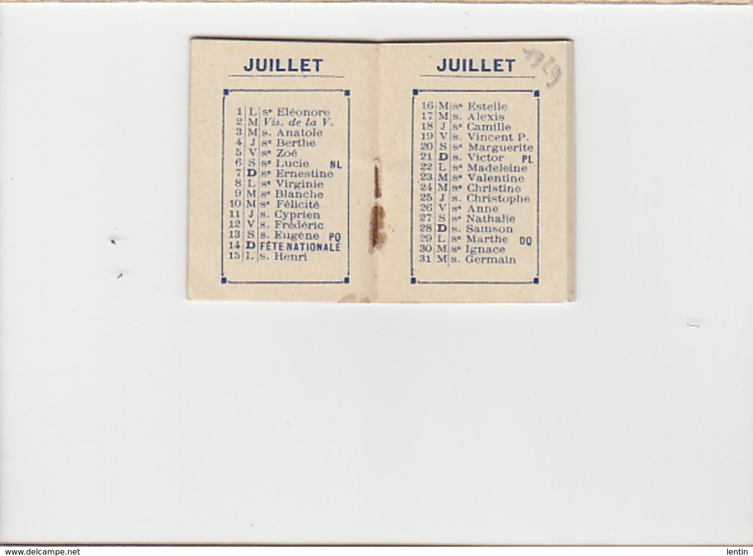 Petit Calendrier 1929 / Papeterie Briand Derval / Dim Fermé 4 X 5 Cm - Calendarios