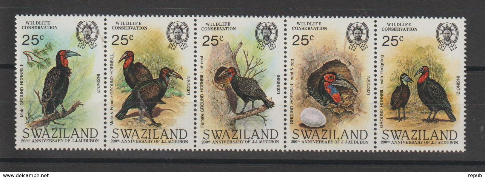 Swaziland 1985 Oiseaux Série 477-81 5 Val ** MNH - Swaziland (1968-...)