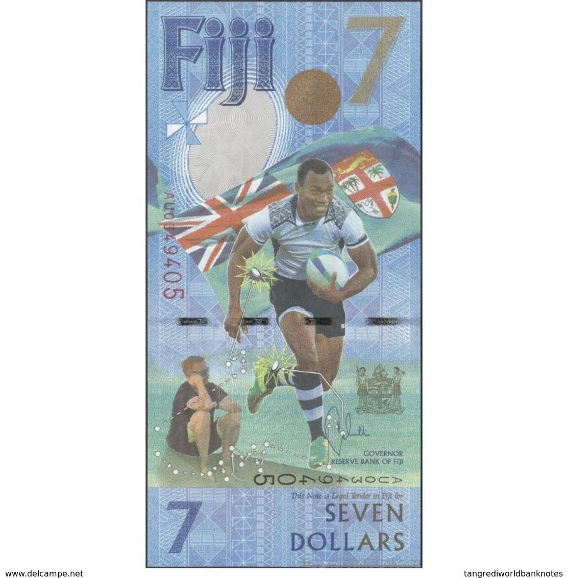 TWN - FIJI ISLANDS NEW - 7 Dollars 2017 - 2016 Fiji Rugby 7s Gold Medal Win - Prefix AU - Signature: Whiteside UNC - Figi