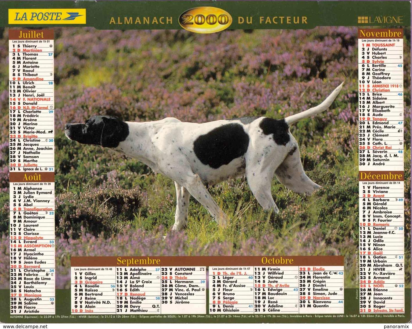 °° Calendrier Almanach La Poste 2000 Lavigne - Dépt 75 - Chiens - Grand Format : 1991-00
