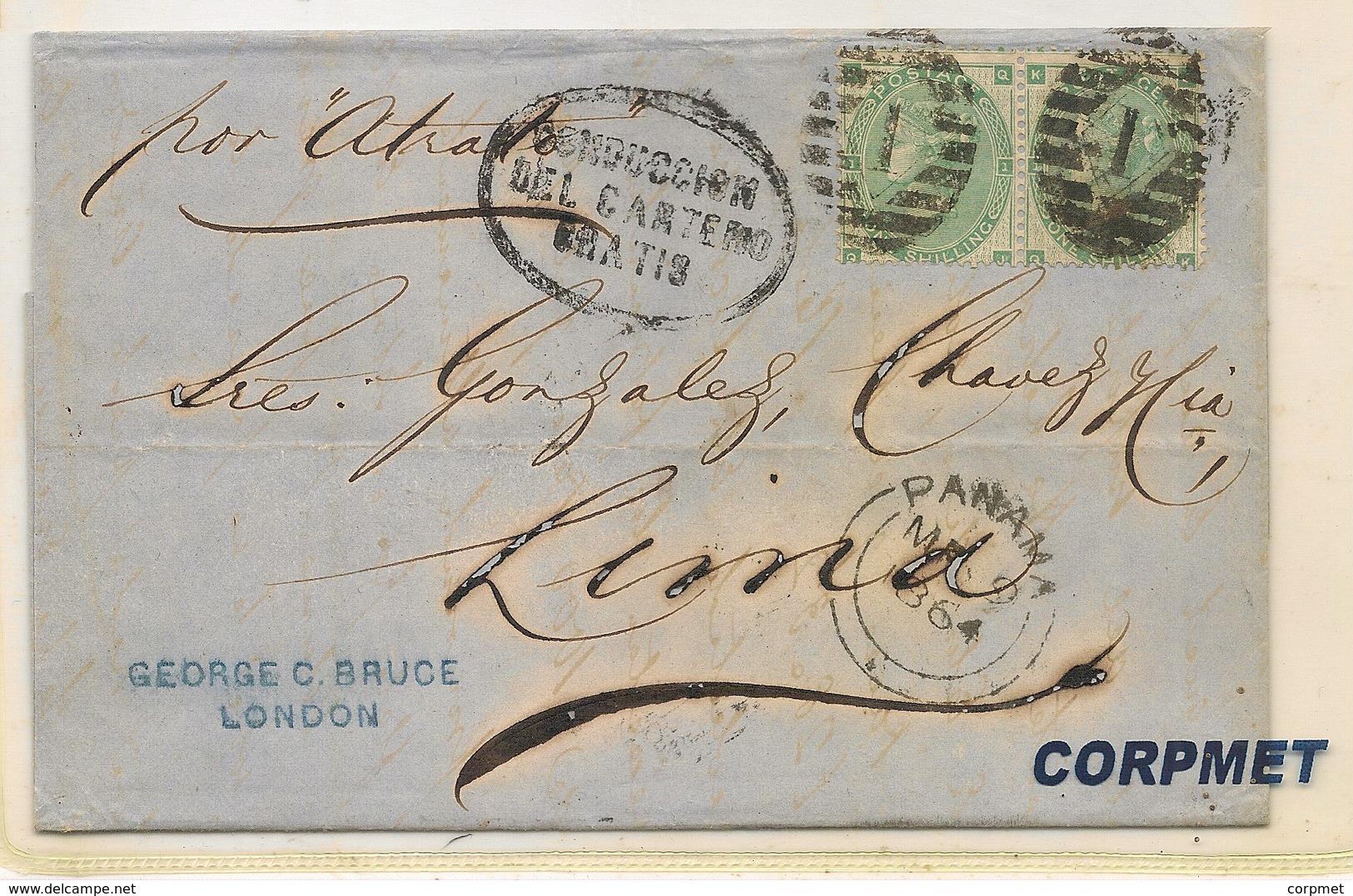 GB Victoria Surface Printed 1864 SG Pair #91 To LIMA Via PANAMA -BLACK CANCEL DELIVER BY POSTMAN FREE - Briefe U. Dokumente
