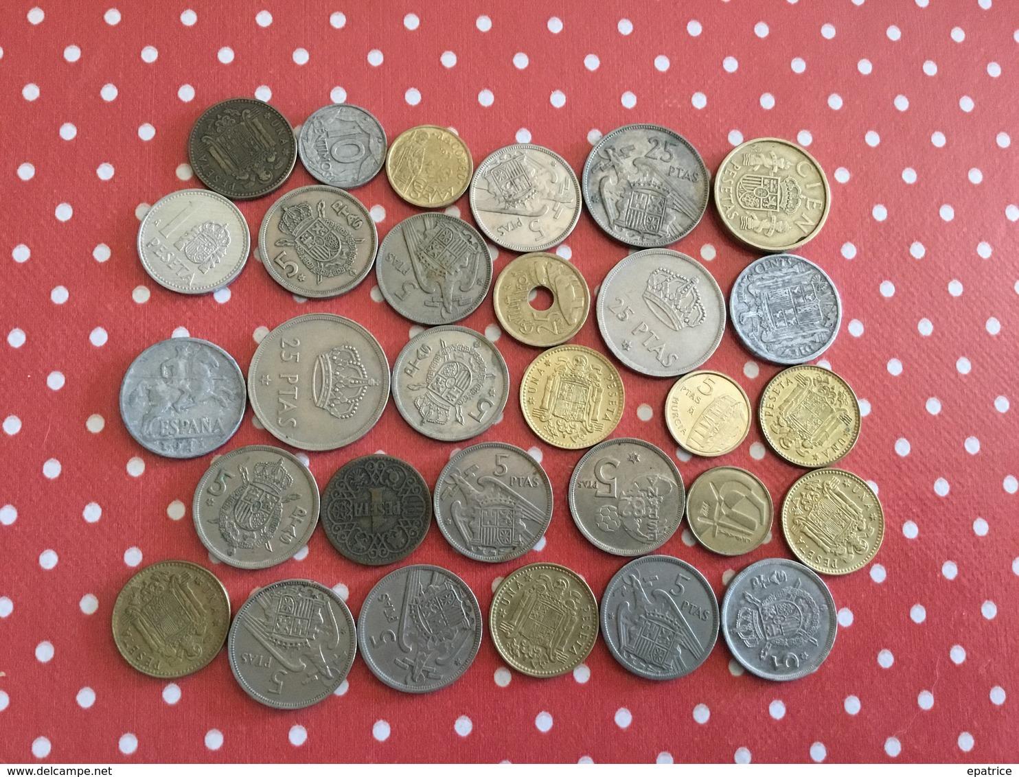 LOT DE 30 PIÈCES ESPAGNOLES - Monedas & Billetes