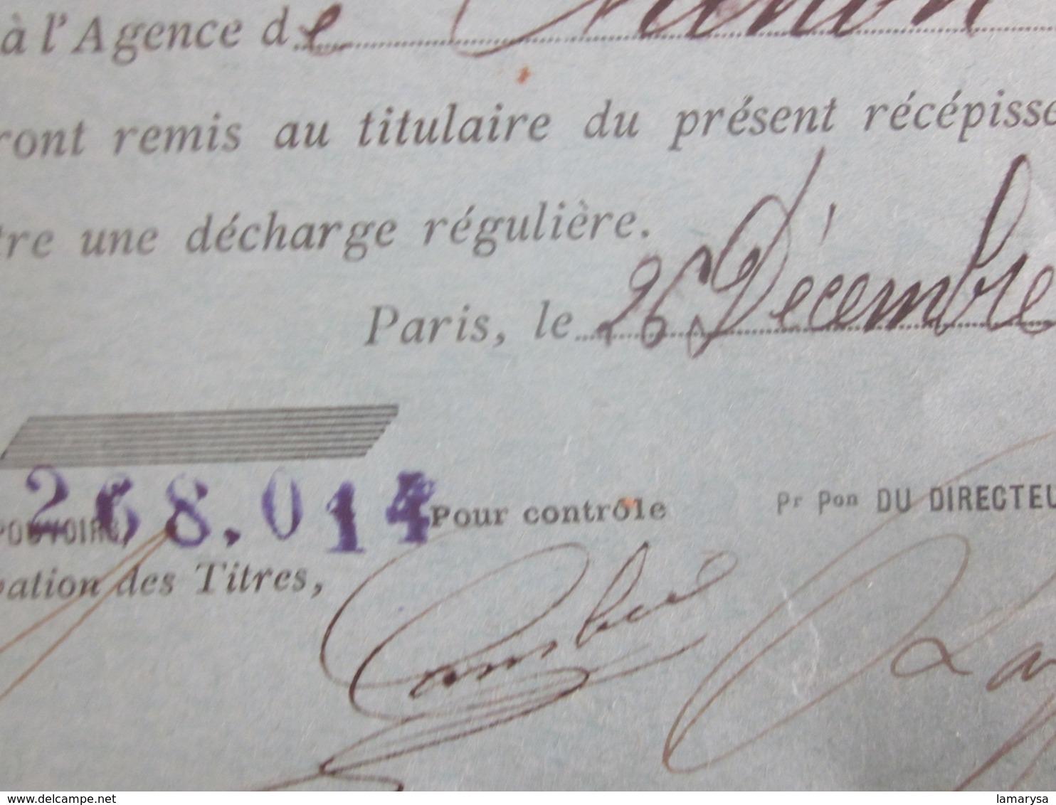 1918 OBLIGATION DE CHEMIN DE FER FRANÇAIS RÉCÉPISSÉ DE DÉPÔT SOCIÉTÉ GÉNÉRALE CHINON - FISCAUX à SEC Action Titre Autre - Ferrocarril & Tranvías