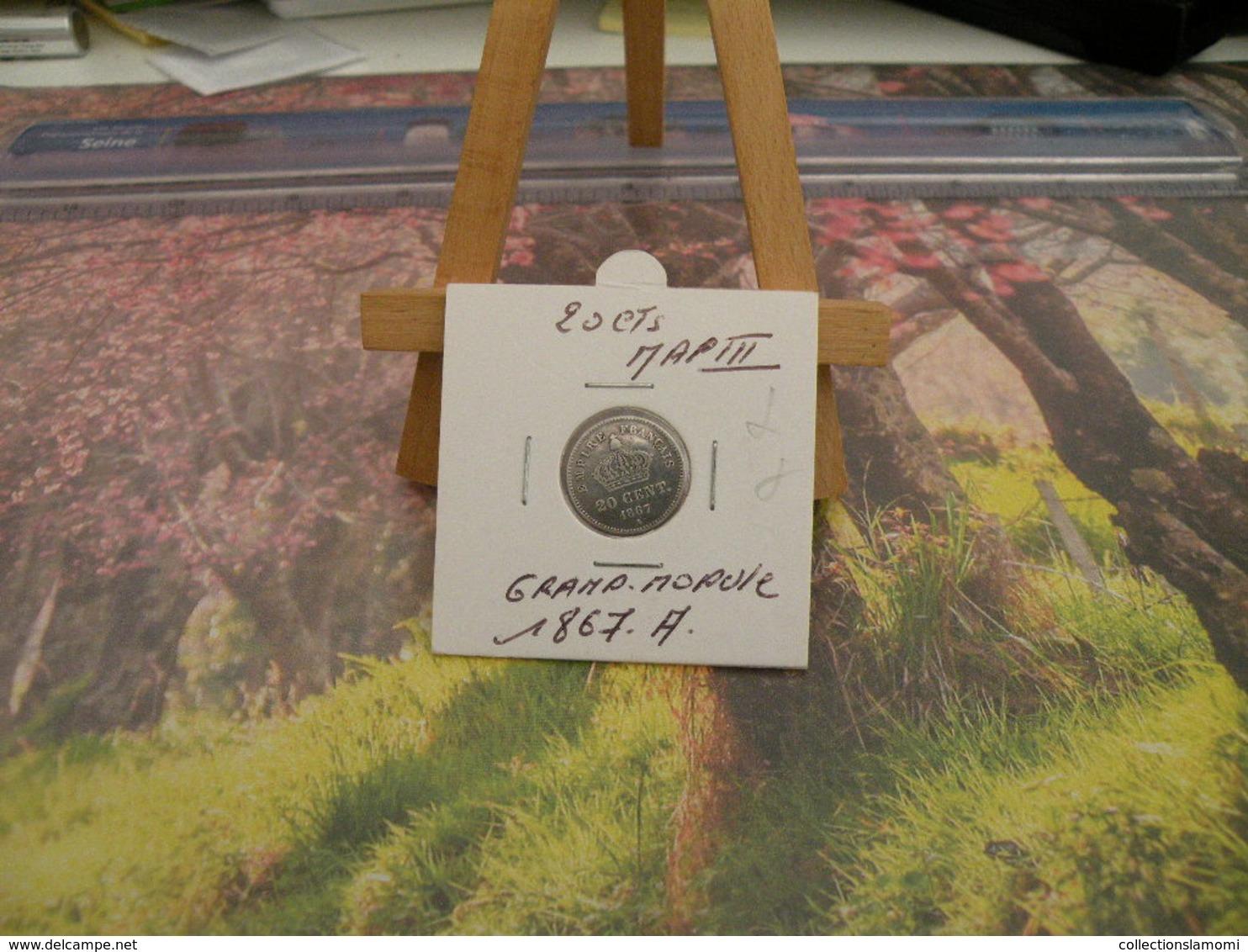 Monnaies - 20 Centimes Argent Napoléon III Tête Laurée Grand Module - 1867 A - Empire De France - - France