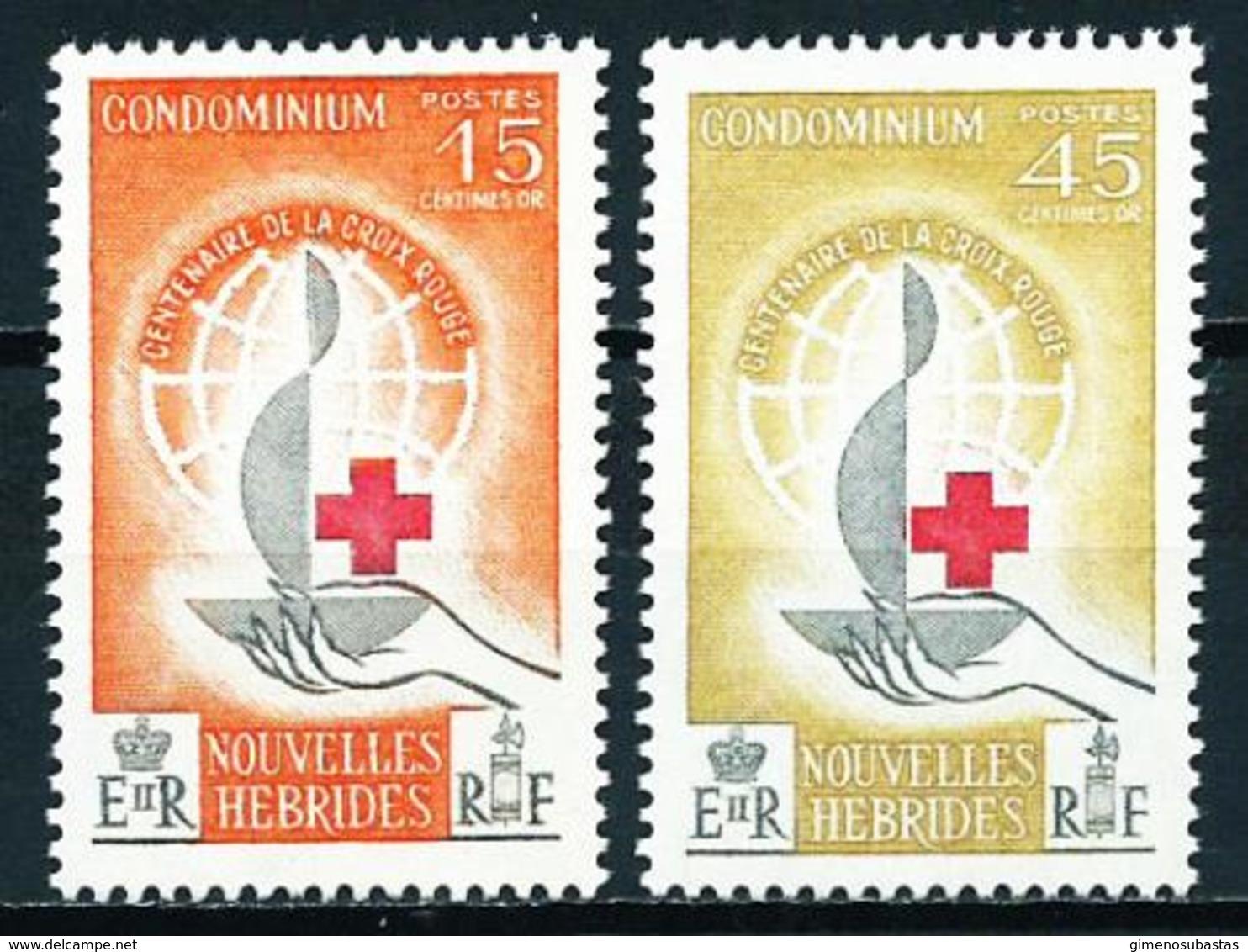 Nuevas Hébridas (Francesas) Nº 199/200 Nuevo - Leyenda Francesa