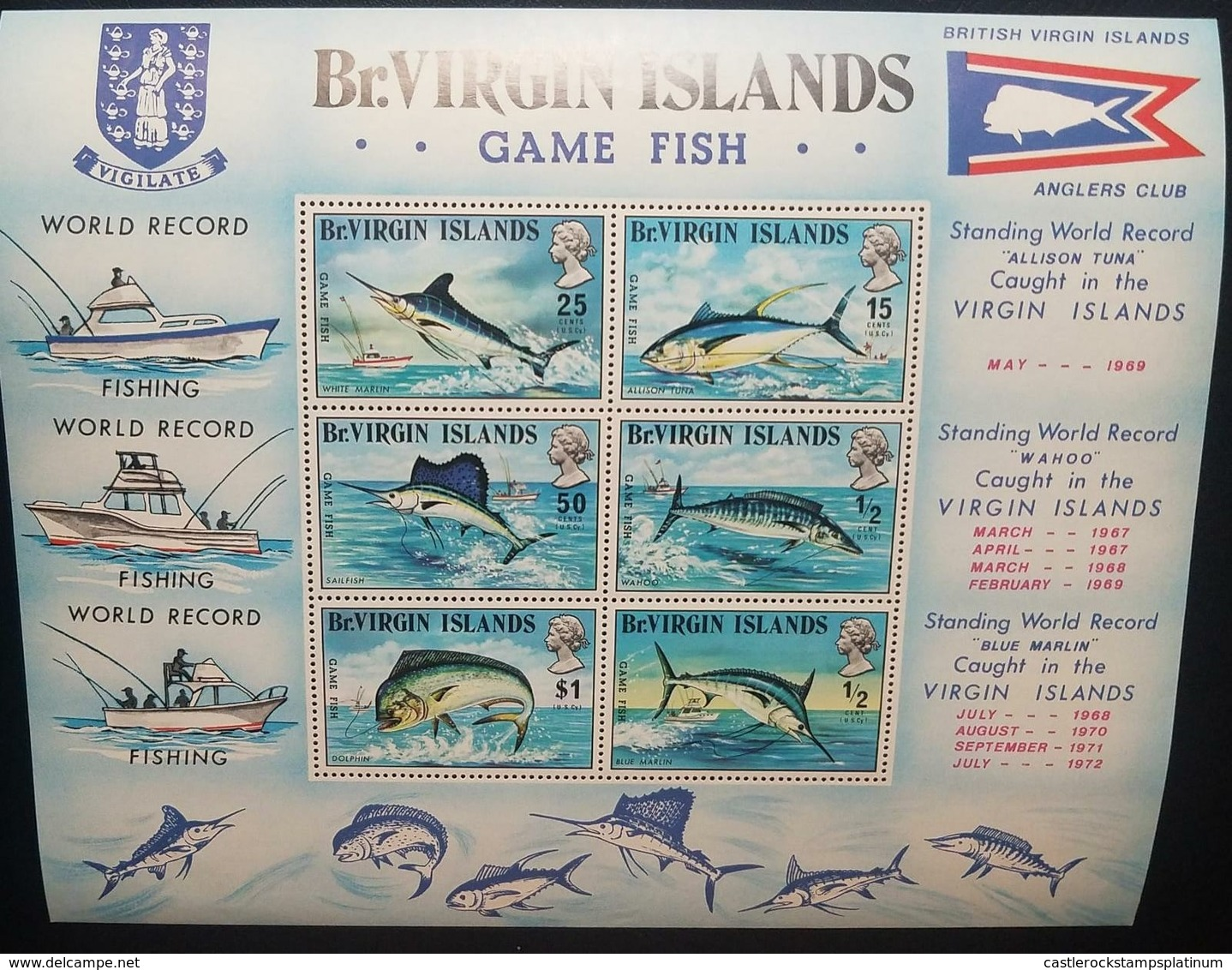 O) 1969 BRITISH VIRGIN ISLANDS, GAME FISHING -WORLD RECORD, FISH, MNH - British Virgin Islands