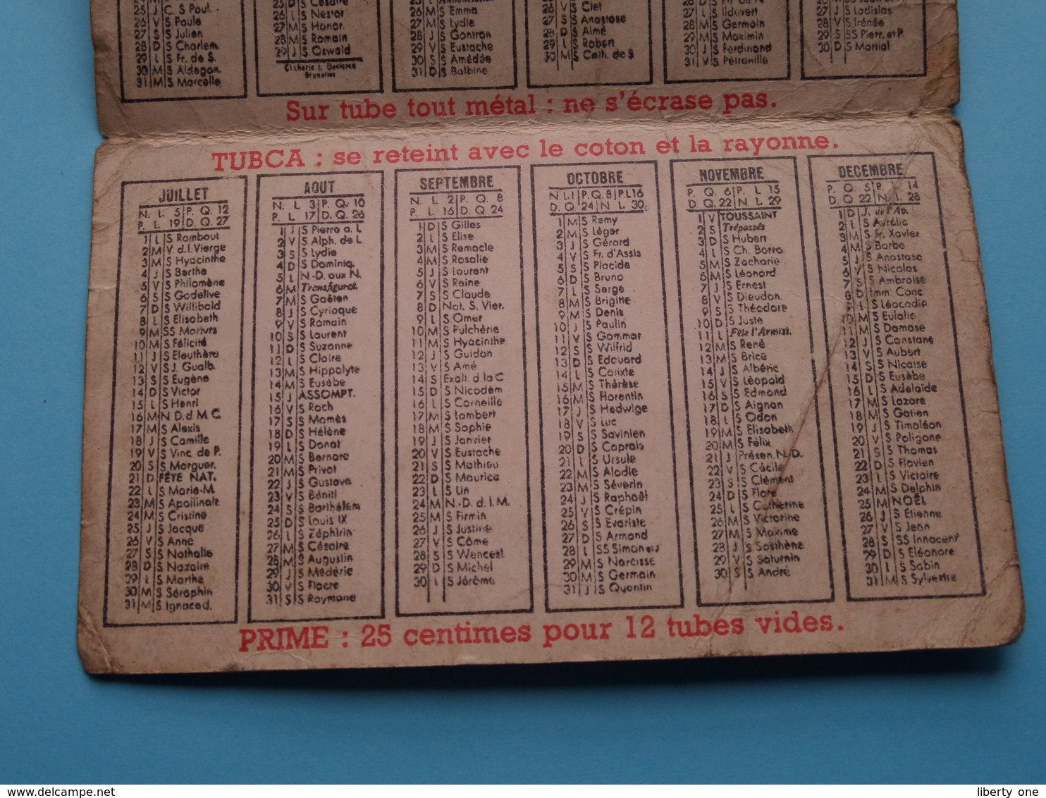 1940 ( TUBOR - 1940 - TUBCA > 100 % Belge ) Calendrier ( Gekreukt / Vuil > Zie/voir Photo Pour/voor Detail ) ! - Calendars