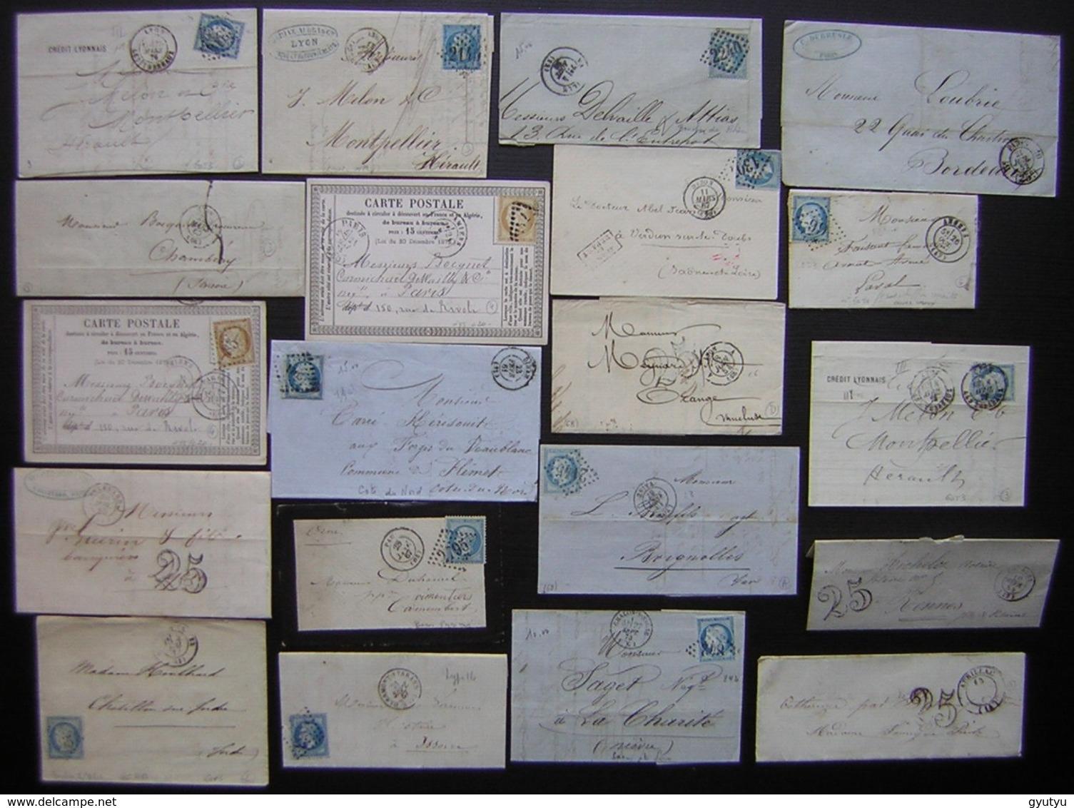 Lot De 20 Lettres Et Cartes Précurseur Affranchies Avec Des Classiques Napoléon Cérès Ou Sans Timbre, Taxées - 1849-1876: Période Classique