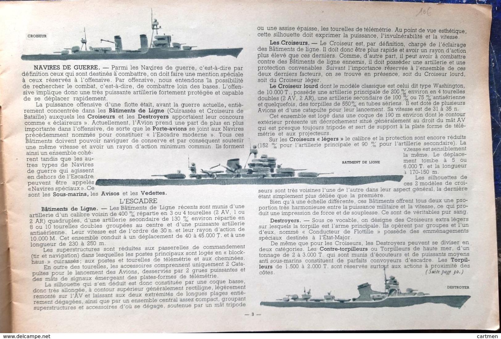 MARINE MILITAIRE  PLAQUETTE ALBUM MER MONOGRAPHIES DE BATEAUX DE GUERRE BELLES GRAVURES DE LASEROUX 1945 - Boten