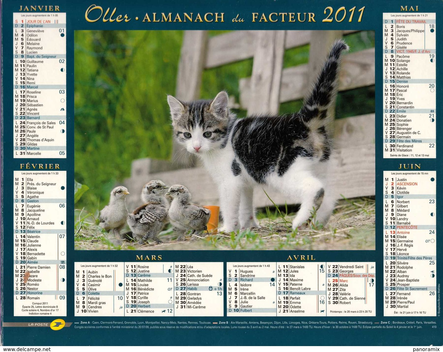 °° Calendrier Almanach La Poste 2011 Oller - Dépt 37 - Chaton - Groot Formaat: 2001-...