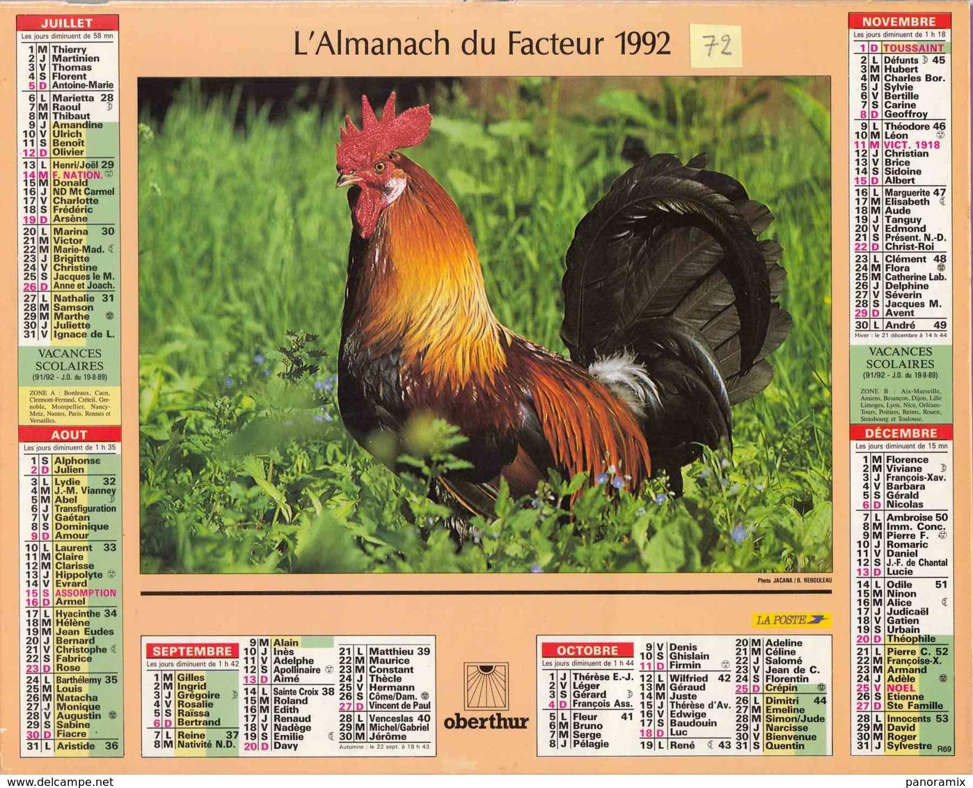 °° Calendrier Almanach La Poste 1992 Oberthur - Dépt 72 - Lapins Et Coq - 01 - Calendriers