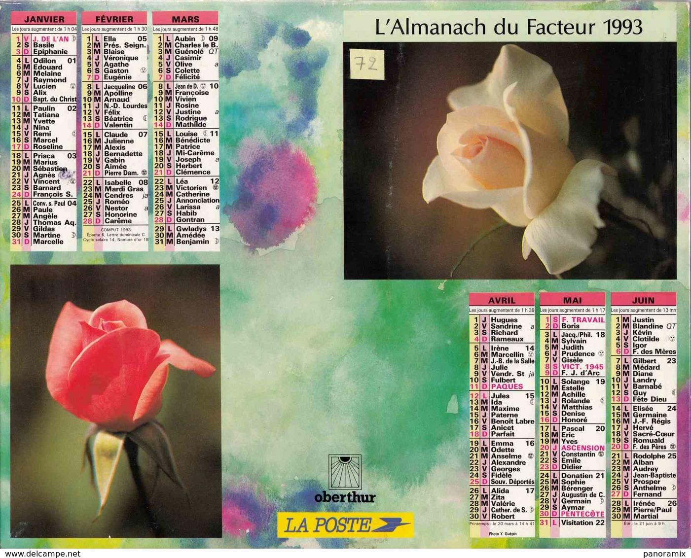 °° Calendrier Almanach La Poste 1993 Oberthur - Dépt 72 - Fleurs - Calendriers