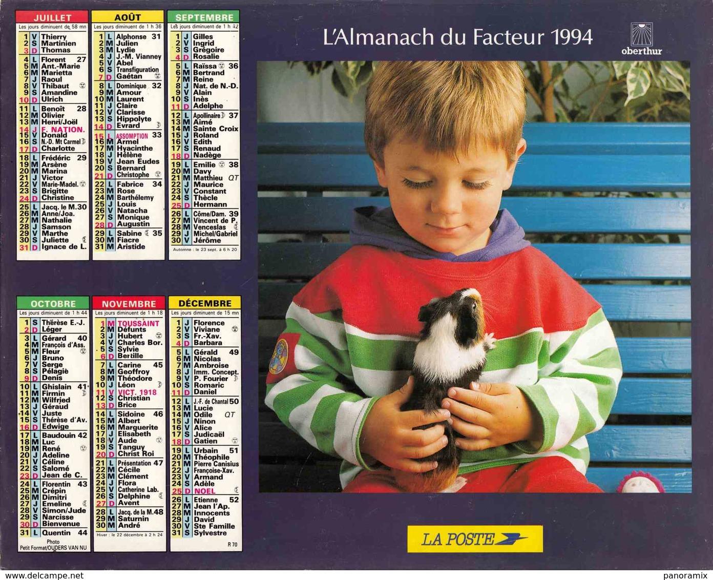 °° Calendrier Almanach La Poste 1994 Oberthur - Dépt 72 - Enfants Avec Animaux - Calendriers