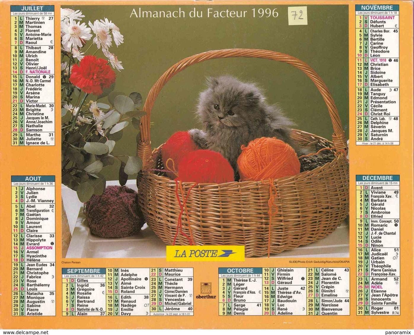 °° Calendrier Almanach La Poste 1996 Oberthur - Dépt 72 - Chatons - Grand Format : 1991-00