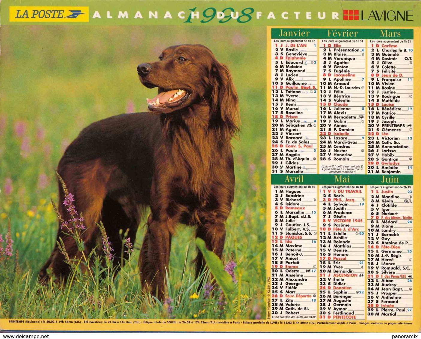 °° Calendrier Almanach La Poste 1998 Lavigne - Dépt 72 - Chiens - Grand Format : 1991-00