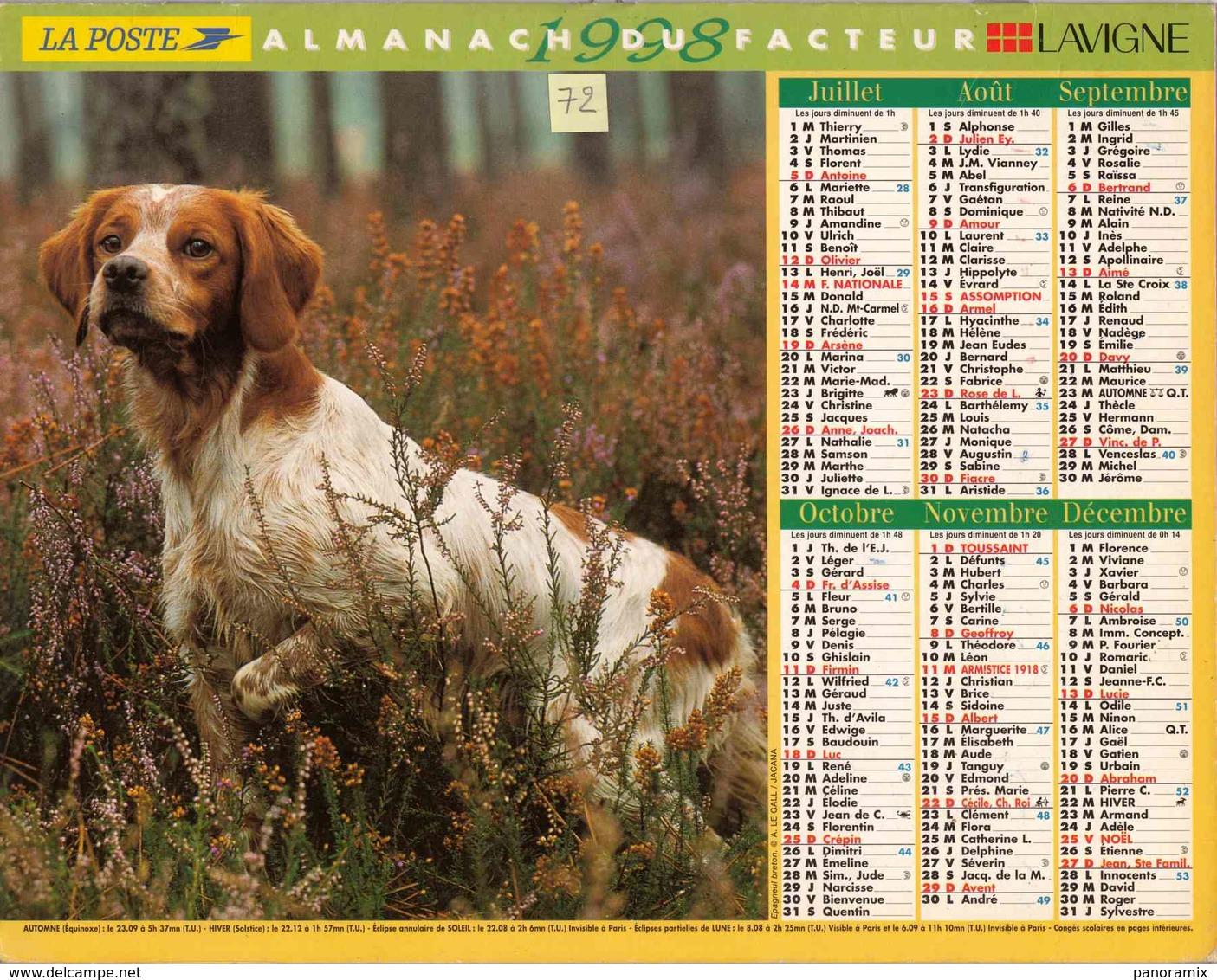 °° Calendrier Almanach La Poste 1998 Lavigne - Dépt 72 - Chiens - Calendriers