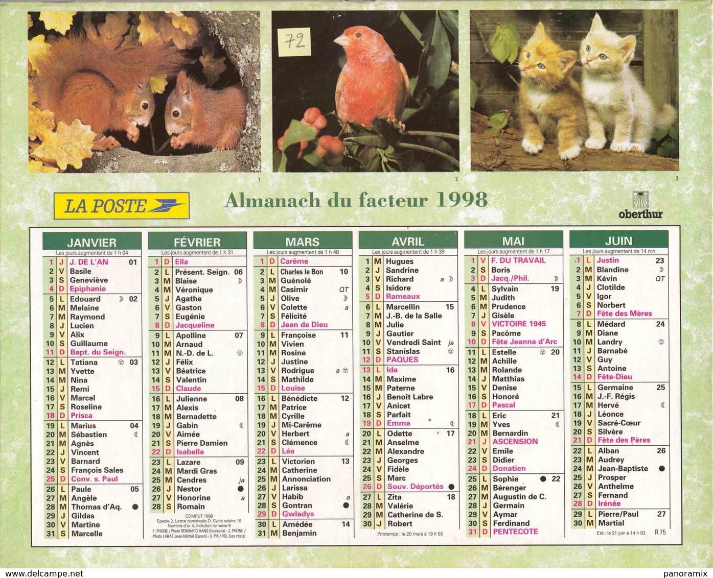 °° Calendrier Almanach La Poste 1998 Oberthur - Dépt 72 - Animaux Divers - Calendriers