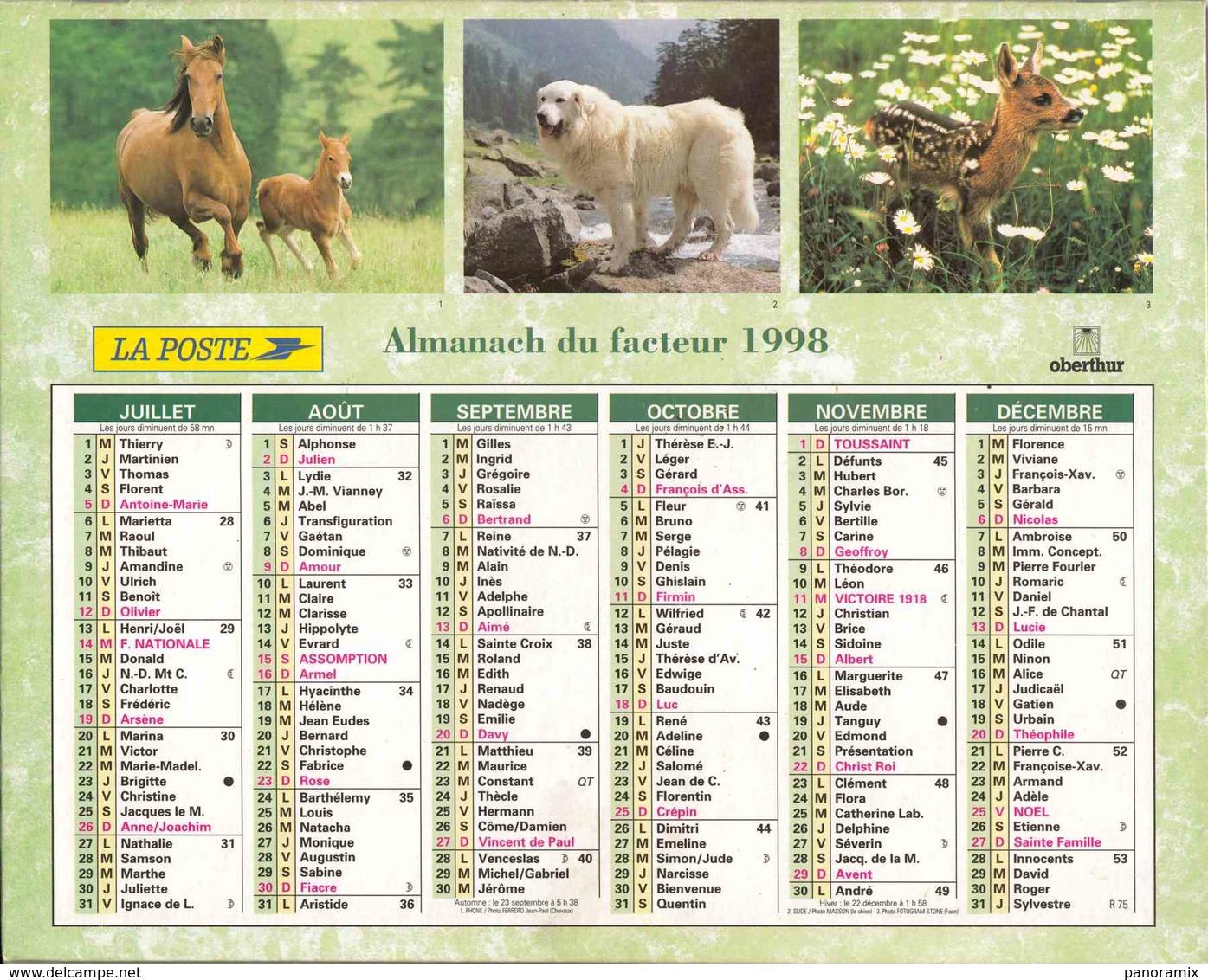 °° Calendrier Almanach La Poste 1998 Oberthur - Dépt 72 - Animaux Divers - Grand Format : 1991-00