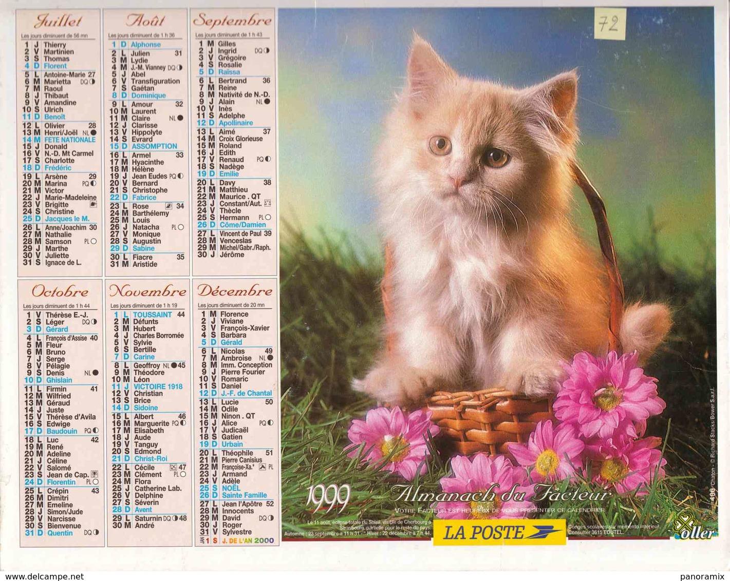 °° Calendrier Almanach La Poste 1999 Oller - Dépt 72 - Chiot Et Chaton - Calendriers