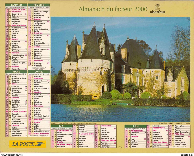 °° Calendrier Almanach La Poste 2000 Oberthur - Dépt 72 - Châteaux D'Ô Et De Bazouges - Grand Format : 1991-00