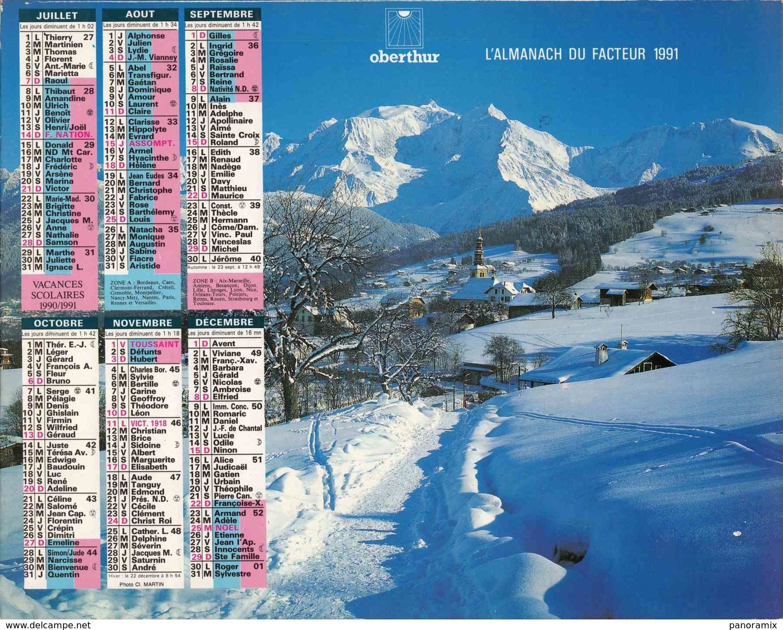 °° Calendrier Almanach La Poste 1991 Oberthur - Dépt 86 - Paysages Montagne - Calendriers