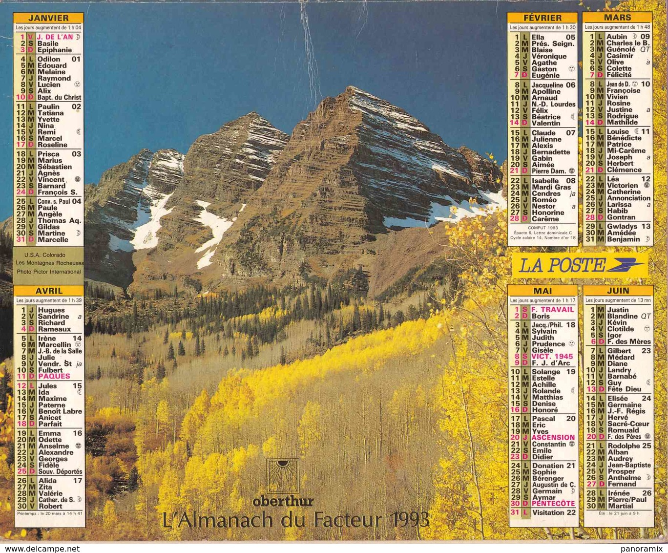 °° Calendrier Almanach La Poste 1993 Oberthur - Dépt 86 - Paysages D'automne - Grand Format : 1991-00