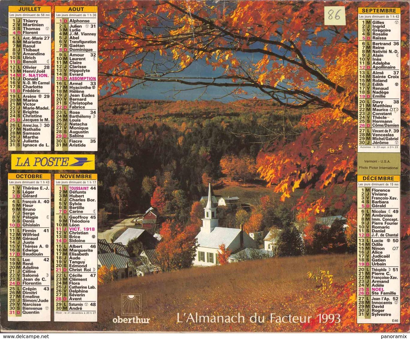°° Calendrier Almanach La Poste 1993 Oberthur - Dépt 86 - Paysages D'automne - Calendriers