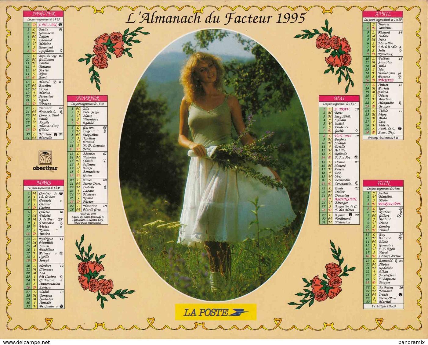 °° Calendrier Almanach La Poste 1995 Oberthur - Dépt 86 - Scènes Romantiques - Grand Format : 1991-00