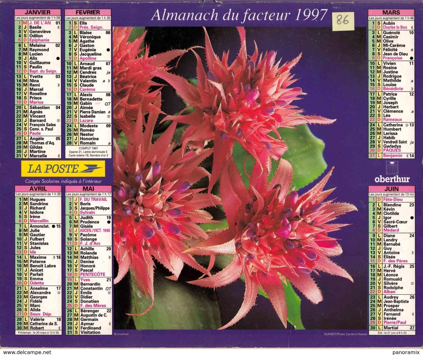 °° Calendrier Almanach La Poste 1997 Oberthur - Dépt 86 - Fleurs - Calendriers