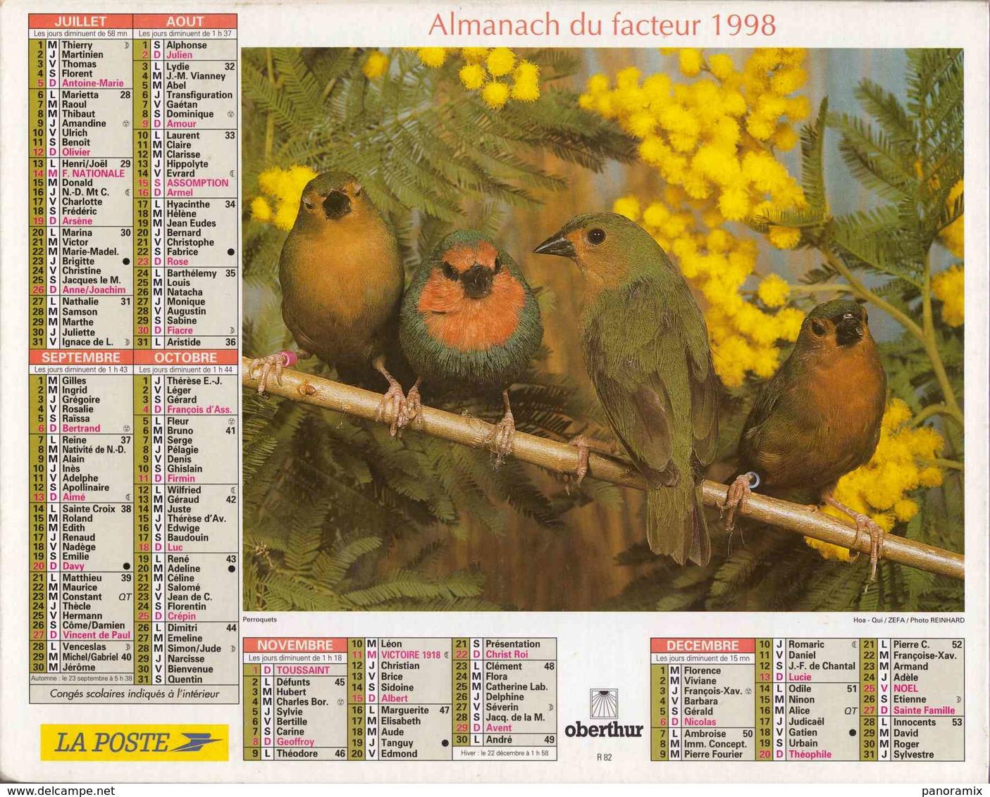 °° Calendrier Almanach La Poste 1998 Oberthur - Dépt 86 - Oiseaux - Calendriers