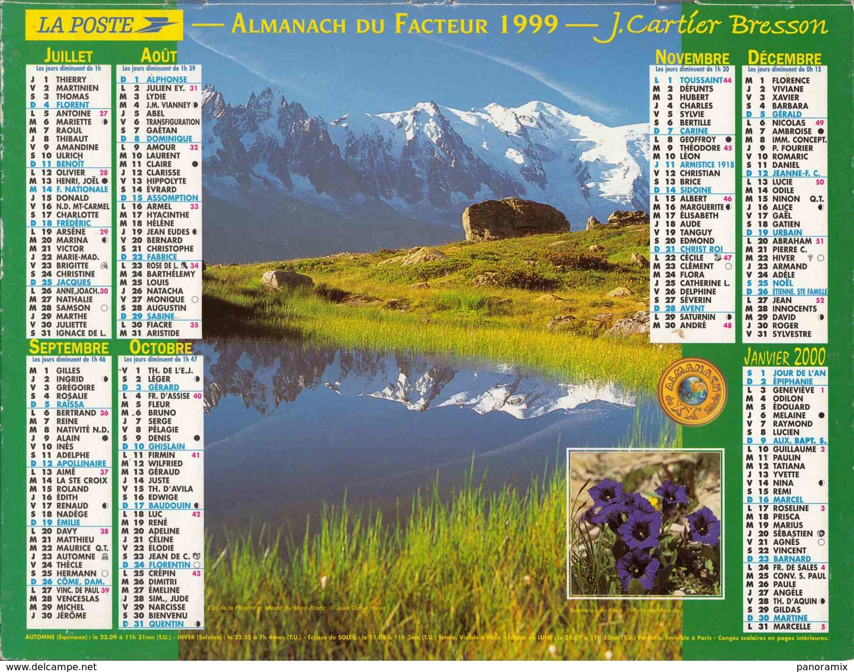 °° Calendrier Almanach La Poste 1999 Oberthur - Dépt 86 - Paysages Des Alpes - Calendriers