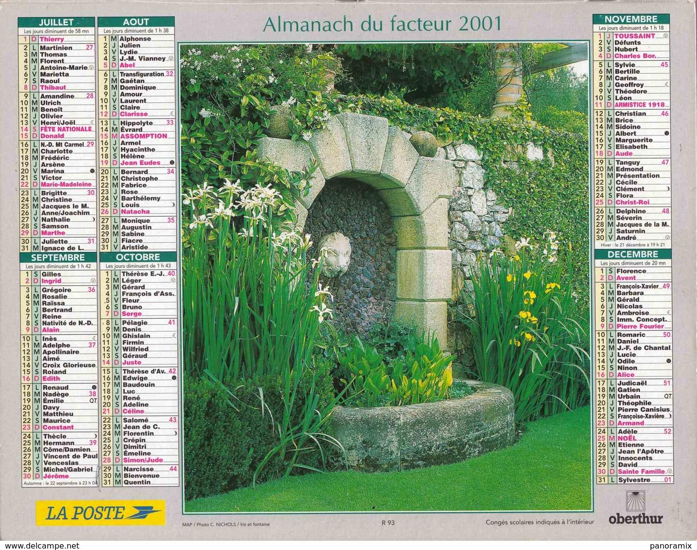 °° Calendrier Almanach La Poste 2001 Oberthur - Dépt 86 - Hortensias Et Fontaine Avec Iris - Kalenders