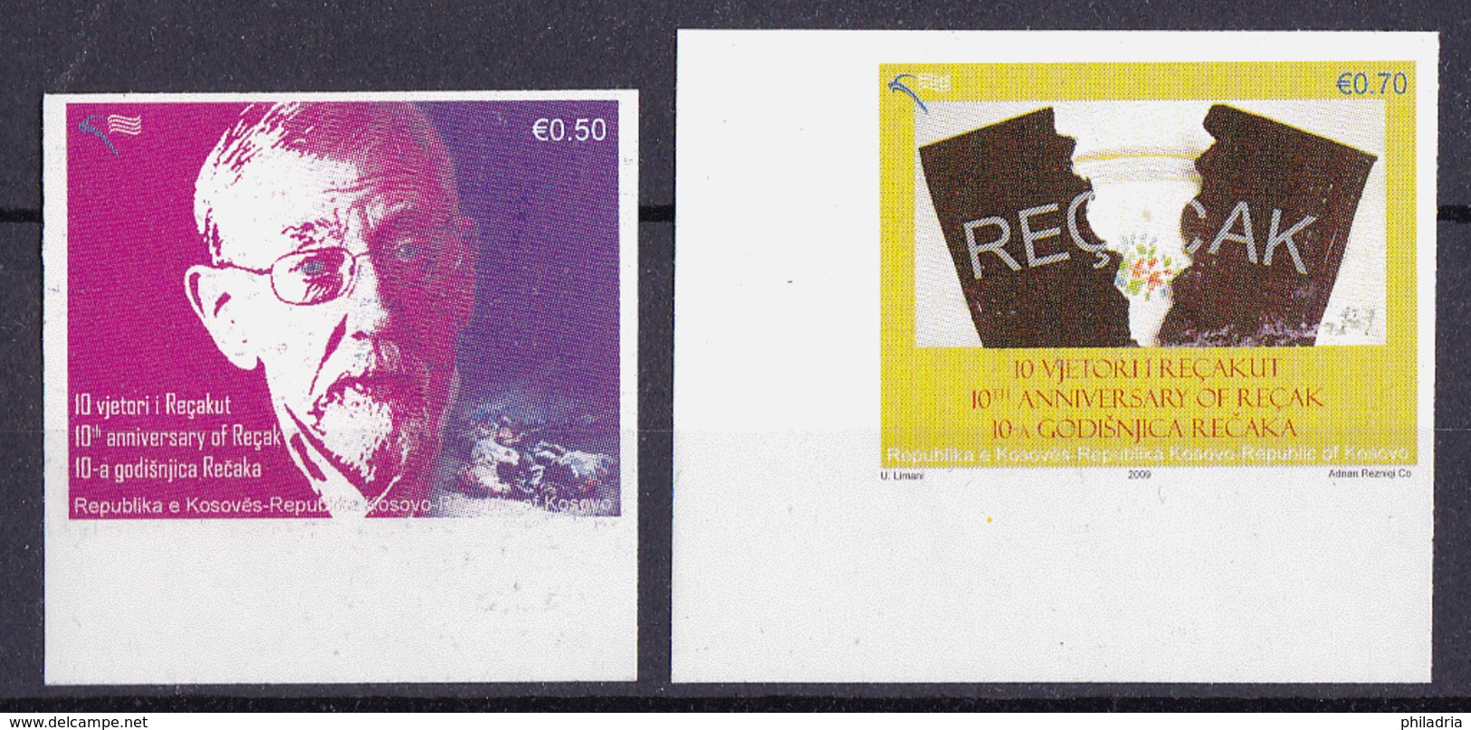 Kosovo, Recak 2009, Complete Set MNH, Imperforated, The Value Of 0,50 € One Print Phase Missing - Kosovo